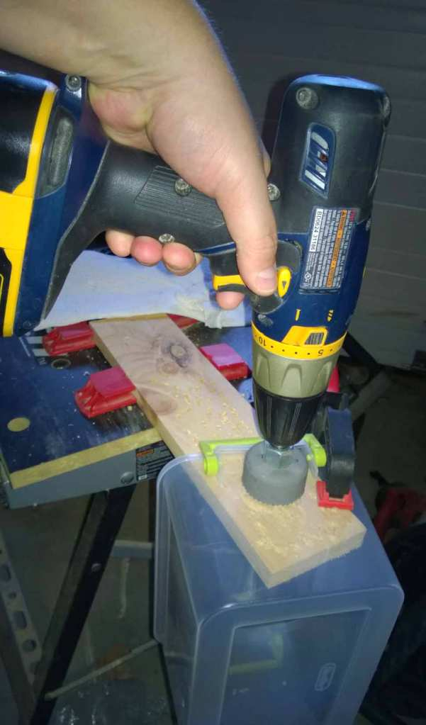 Mark the entry point for the guide bit with a Sharpie to keep the hole centered. When drilling, don't push too hard and allow the drill to do it's work. Be careful that the bit doesn't heat up too much, as if it does, it can melt the plastic. Use a piece of wood underneath to drill into  and for support.